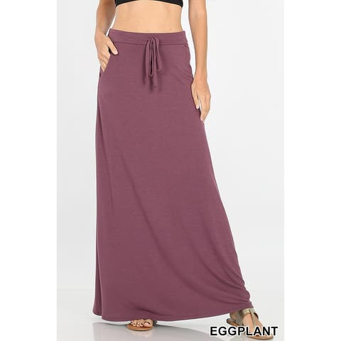 JED Women's Soft Fabric Drawstring Maxi Skirt with Side Pockets