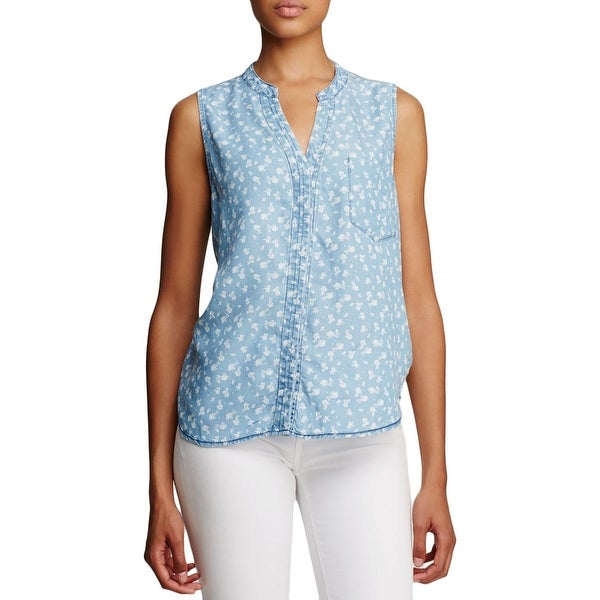 4Our Dreamers Womens Button-Down Top Floral Print Sleeveless