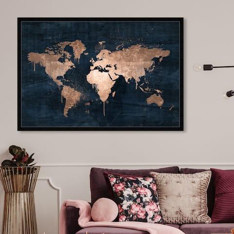 Oliver Gal 'Mapamundi Copper' Maps and Flags Framed Wall Art Prints World Maps - Bronze, Blue