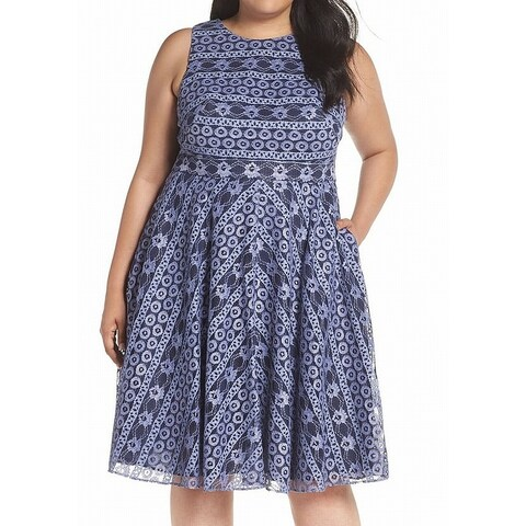 Eliza J Blue Womens Size 14W Plus Jewel Neck Lace A-Line Dress