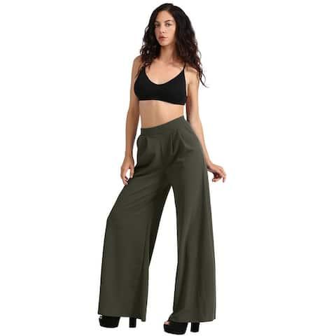 NE PEOPLE Womens Basic Dress Palazzo Pants with Pockets [NEWP43]