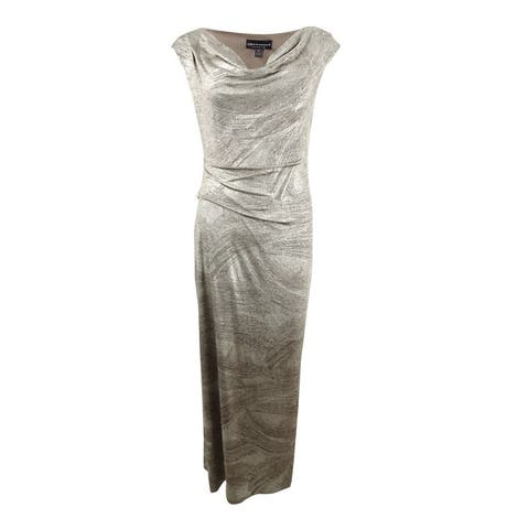 Connected Women's Petite Metallic Gown (12P, Flax) - Flax - 12P