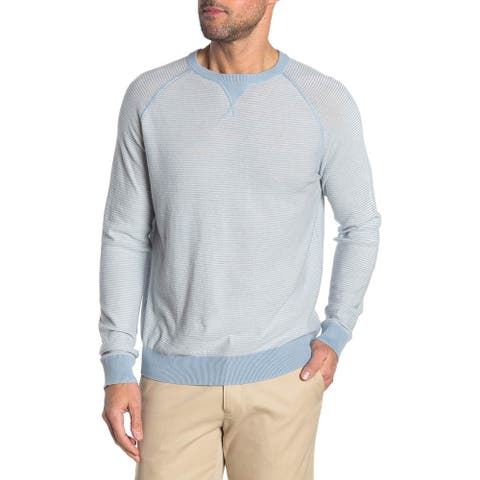 Wallin & Bros Mens Transitional Stripe Blue Grey Sweater Medium