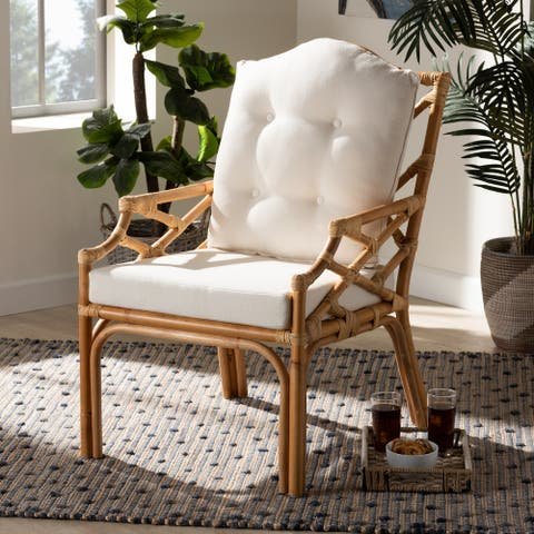 Sonia Modern and Contemporary Natural Finished Rattan Armchair