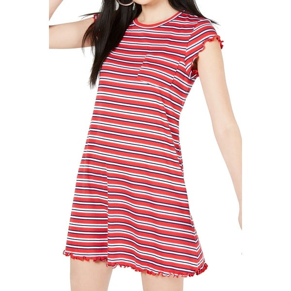 Ultra Flirt Red Size Large L Junior Striped Ruffle Trim T-Shirt Dress