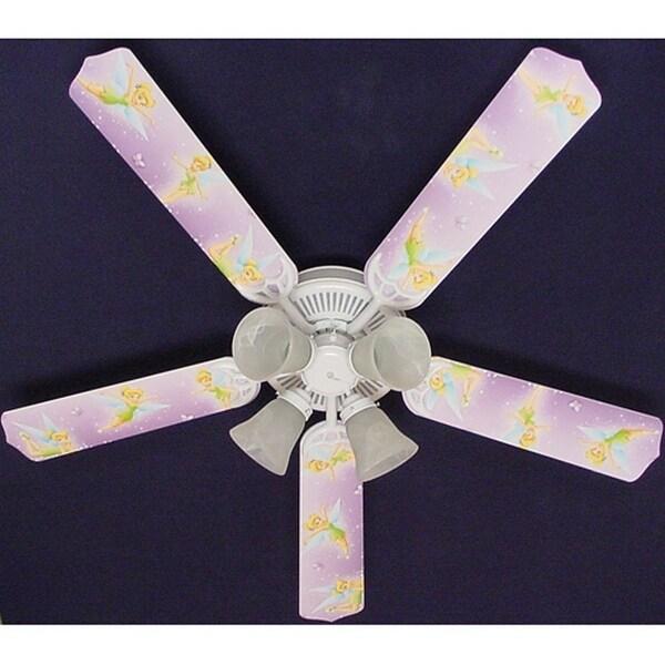 Purple Disney Tinkerbelle Print Blades 52in Ceiling Fan Light Kit - Multi