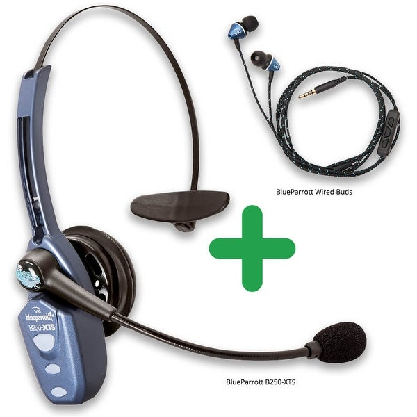 77ddd9873e9 BlueParrott B250-XTS Ultra Noise Canceling Bluetooth Headset w/ Wired Ear  Buds Package Deal