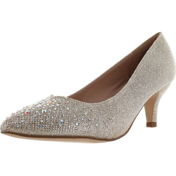 De Blossom Collection Womens Hanna-15 Low Heel Stunning Sparkle Party Pumps