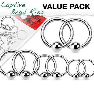 Value Pack 4 Pairs Annealed Surgical Steel Captive Bead Rings (Option: 20 Gauge)