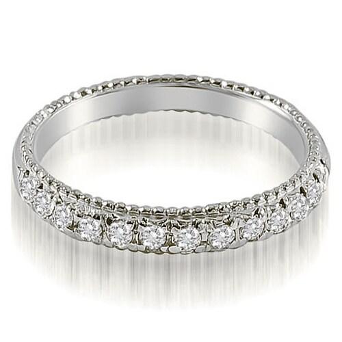0.40 cttw. 14K White Gold Antique Style Milgrain Round Cut Diamond Wedding Ring
