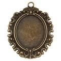 Antiqued Brass Victorian Bezel Pendant 30.5x38.5mm (1) - Thumbnail 0