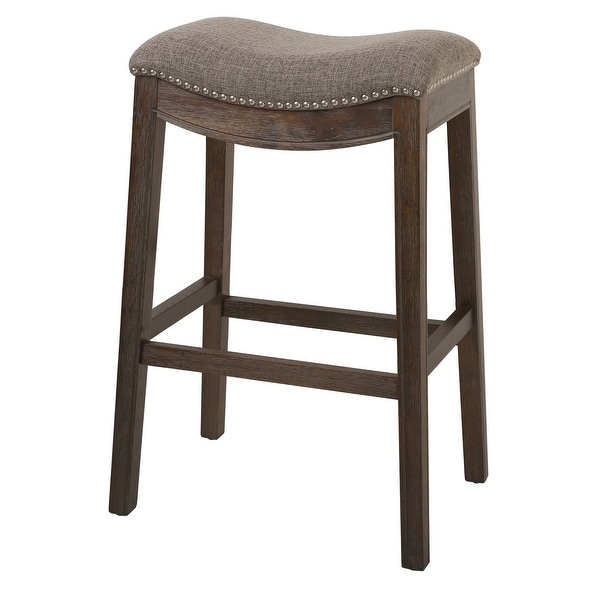 Bar Height Saddle Style Counter Stool with Fabric and Nail head Trim. Opens flyout.