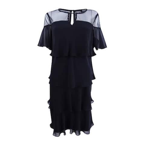 SL Fashions Women's Embellished Tiered Chiffon Dress - Black