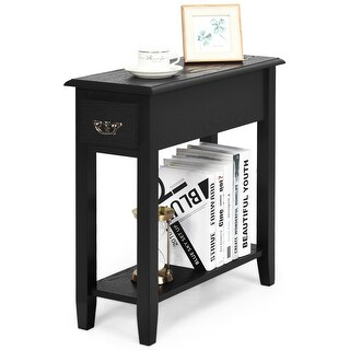 Gymax 2 Tier End Bedside Sofa Side Table Narrow Nightstand w/Drawer - See Details