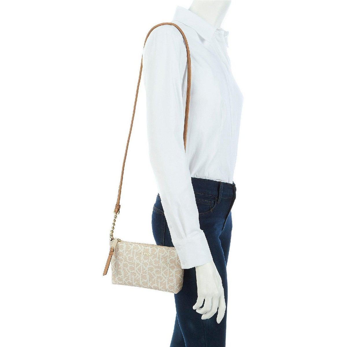 Calvin Klein Hayden Signature Chain Strap Crossbody Bag Desert Taupe
