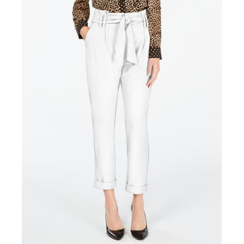 INC Womens Dress Pants Washed White Size 6 Stretch Tapered-Leg Paperbag