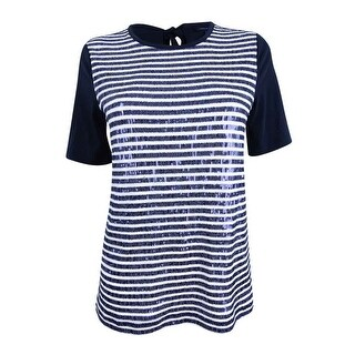 Tommy Hilfiger Women's Sequin-Striped Bow Top - sky captain/ivory