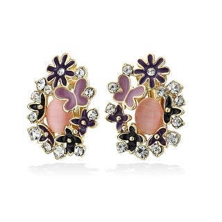Bling Jewelry Purple Flower Imitation Pink Cats Eye Clip Ons Gold Plated