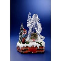"Pack of 2 Icy Crystal Animated Musical Christmas Santa Snow Globe 9.75"" - CLEAR"