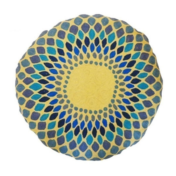 Vivai Home Turquoise Spirograph Pattern Wool Cotton Feather 24 Round Pillow