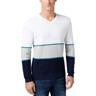 Michael Kors Walden Colorblock V-Neck Pullover Sweater White and Navy|https://ak1.ostkcdn.com/images/products/is/images/direct/ff89e9b8abfa95d38e81dff618f3aa10ac9630c5/Michael-Kors-Walden-Colorblock-V-Neck-Pullover-Sweater-White-and-Navy.jpg?impolicy=medium