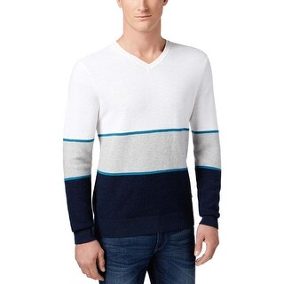 Michael Kors Mens Walden Colorblock V-Neck Pullover Sweater White / Navy