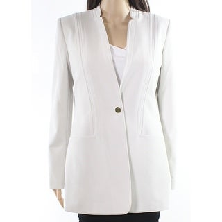 Calvin Klein White Ivory Single-Button Women's 4 Blazer Jacket