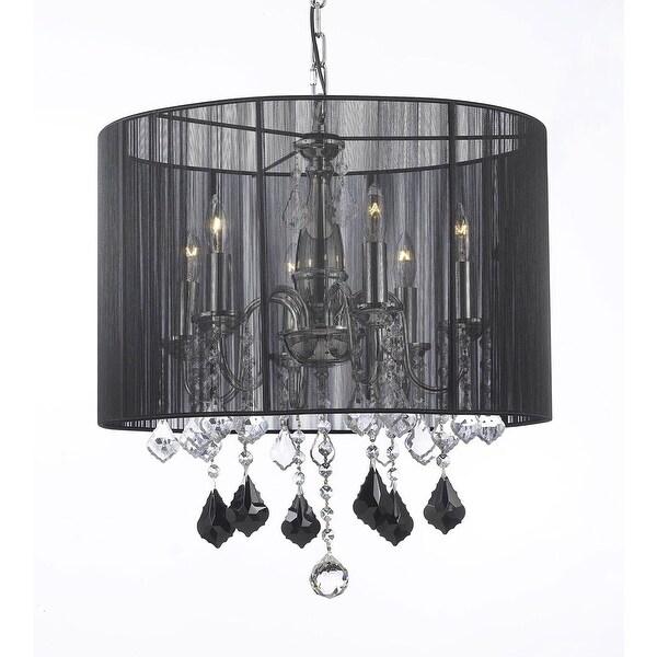 Crystal Chandelier Lighting With Large Black Shade Jet Pendant