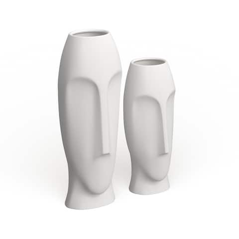 Modern Abstract Faces Vases (Set of 2)