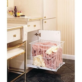 """Rev-A-Shelf HRV-1520 S HRV Series Pull Out 18"""" Deep Wire Hamper with Full-Extension Slides"""