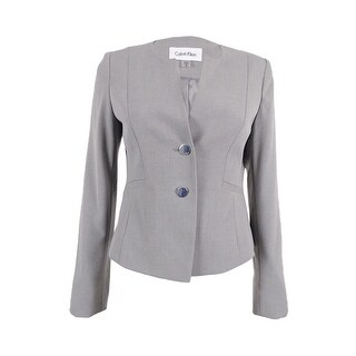 Calvin Klein Women's Petite 2-Button Welt Pocket Blazer - tin