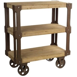 34.5L X 39H Wooden MDF Brown Industrial Backless 3 Tier Shelf with Wheels