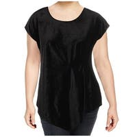 NY Collection Black Womens Size 1X Plus Velvet Asymmetrical Blouse