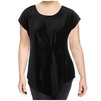 NY Collection Women's Plus Velvet Pleated Blouse