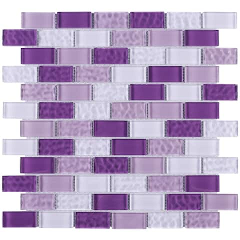 "TileGen. Cockles 1"" x 2"" Glass Mosaic Tile in Purple Wall Tile (10 sheets/9.6sqft.)"