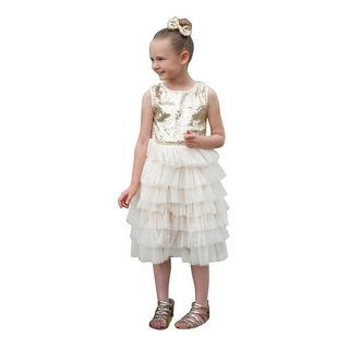 Think Pink Bows Girls Ivory Gold Sequin Adorned Tiered Isadora Dress