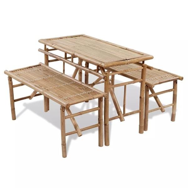 vidaXL Picnic Table Bench Set 3 Pieces Bamboo Folding Beer Garden Furniture. Opens flyout.