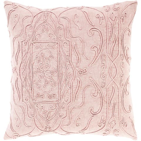 Wade Hand Embroidered Floral Scroll Throw Pillow