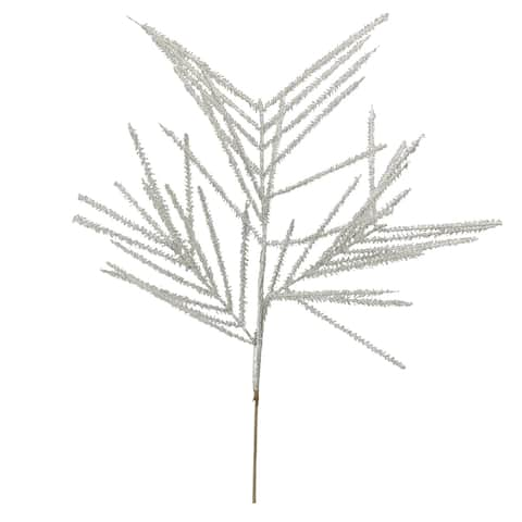 "27"" White Glittered Wispy Wheat Artificial Christmas Spray"