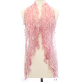 Womens Delicate Leaf Lace Scarf with Tear Drop Tassels
