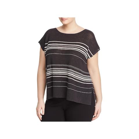 Eileen Fisher Womens Poncho Sweater Knit Striped