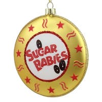 "4"" Candy Lane Tootsie Roll Gold Sugar Babies Bite Size Caramel Candies Christmas Disc Ornament"