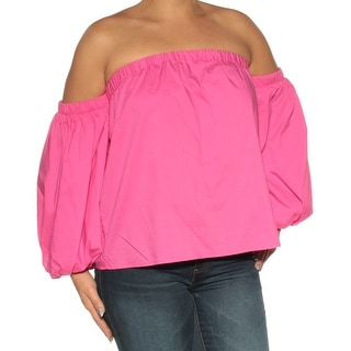 INC Womens Pink Long Sleeve Off Shoulder Top  Size: L