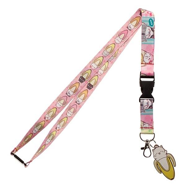shop bioworld bananya cat anime charm allover print pink lanyard id