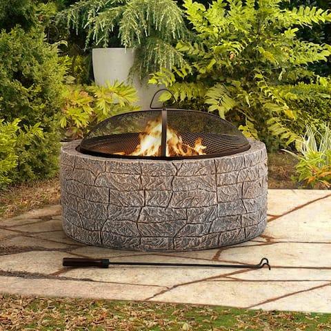 Sunjoy Stone 26 in. Round Wood Burning Firepit