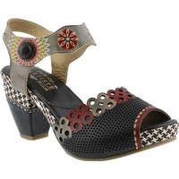 L'Artiste by Spring Step Women's Jive Quarter Strap Sandal Black Multi Leather