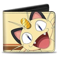 Meowth Face Close Up + Meowth Stripe Yellow Orange Brown Bi Fold Wallet - One Size Fits most