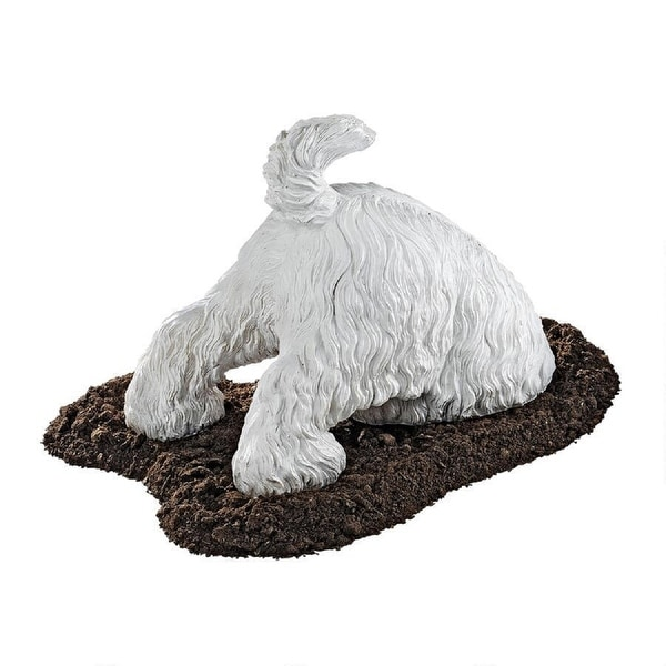 """12"""" White Highland Terrier Digging Dog Outdoor Statue - N/A"""