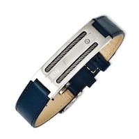 Chisel Stainless Steel Blue Leather with Wire Adjustable Buckle Bracelet