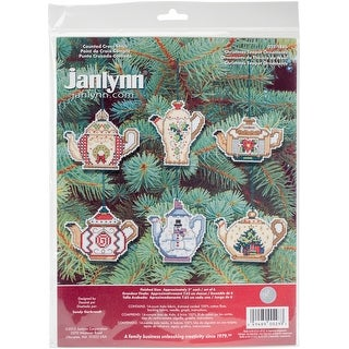 """Christmas Teapot Ornaments Counted Cross Stitch Kit-3"""" 14 Count Set Of 6"""